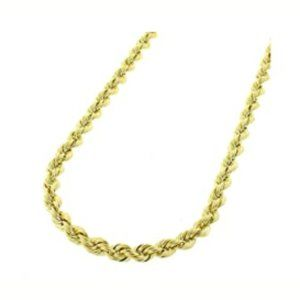 Real 10K Gold, 3mm Diamond Cut Rope Chain